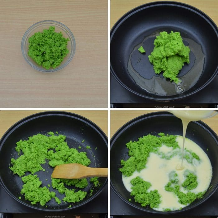 cooking green peas paste and condensed milk in a black pan