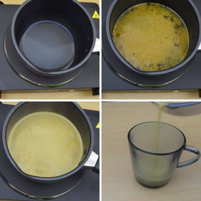 brewing water with kashaya powder, milk and pouring in a glass