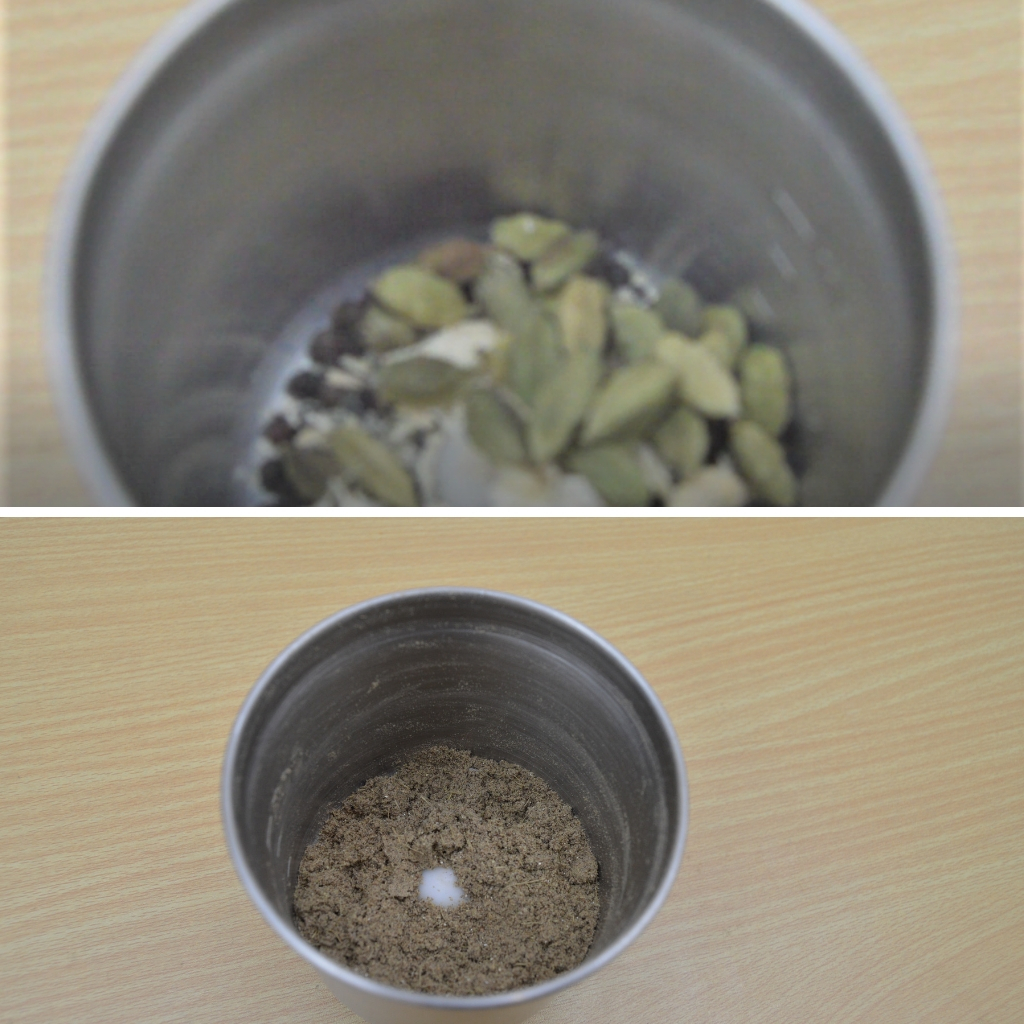before and after grinding chai masala spices