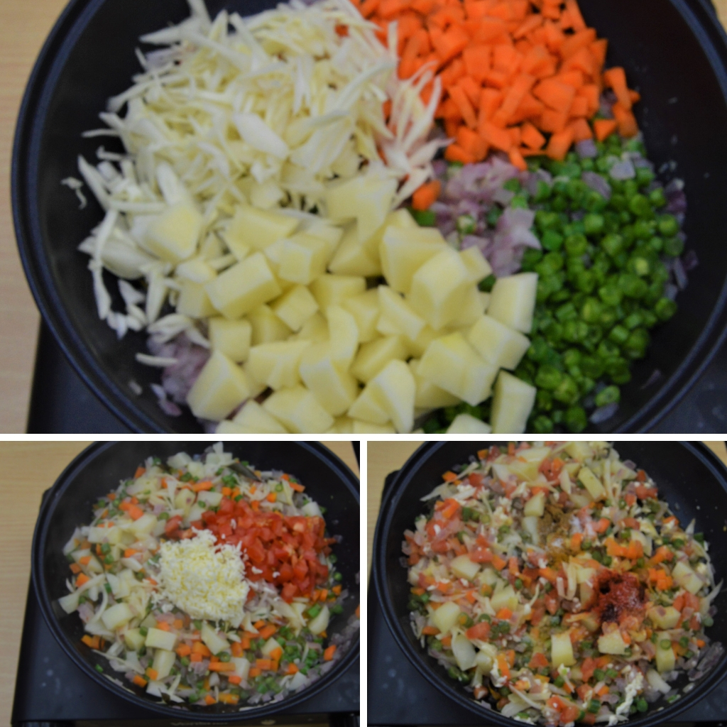 cooking vegetables in a pan