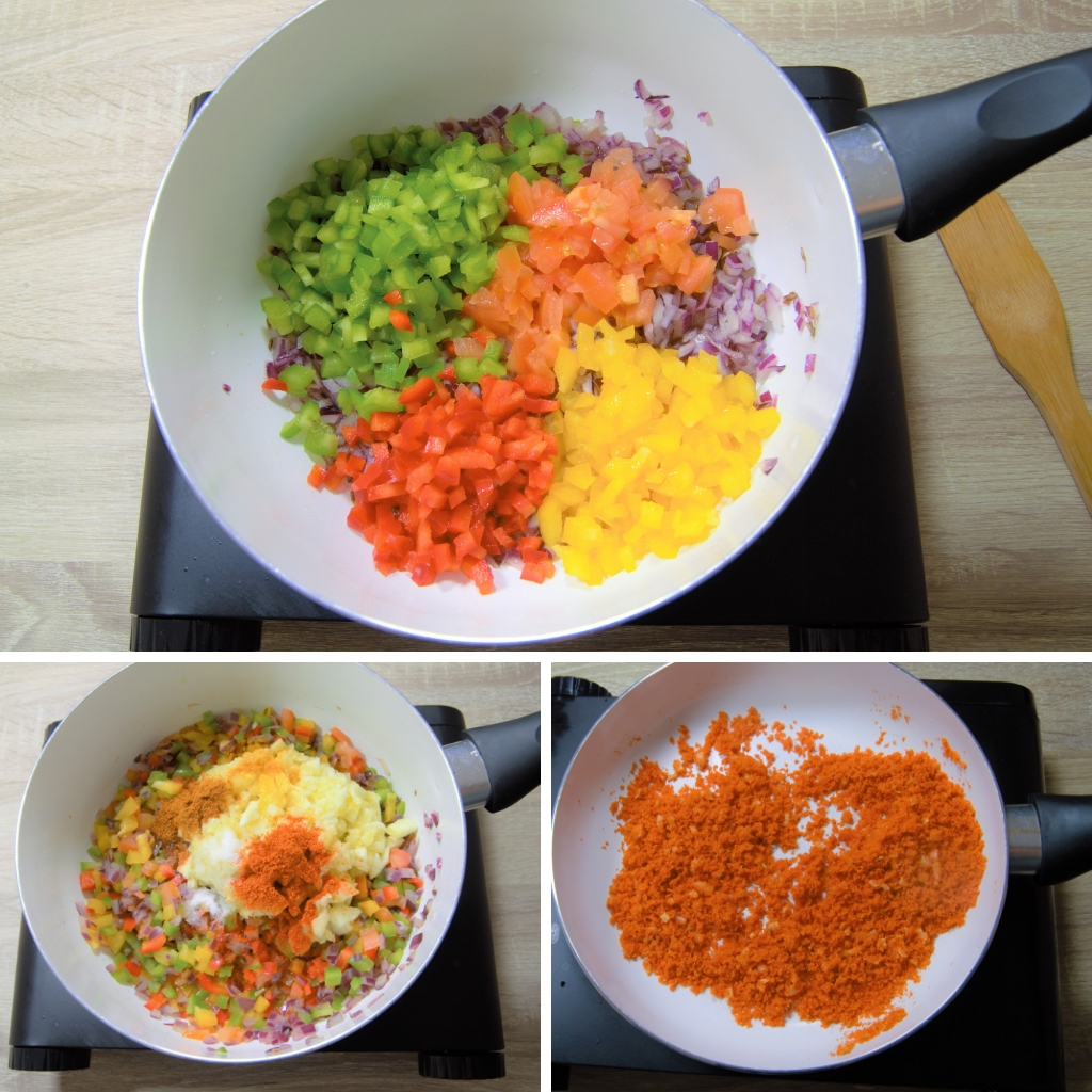 cooking vegetables for stuffing and frying breadcrumbs