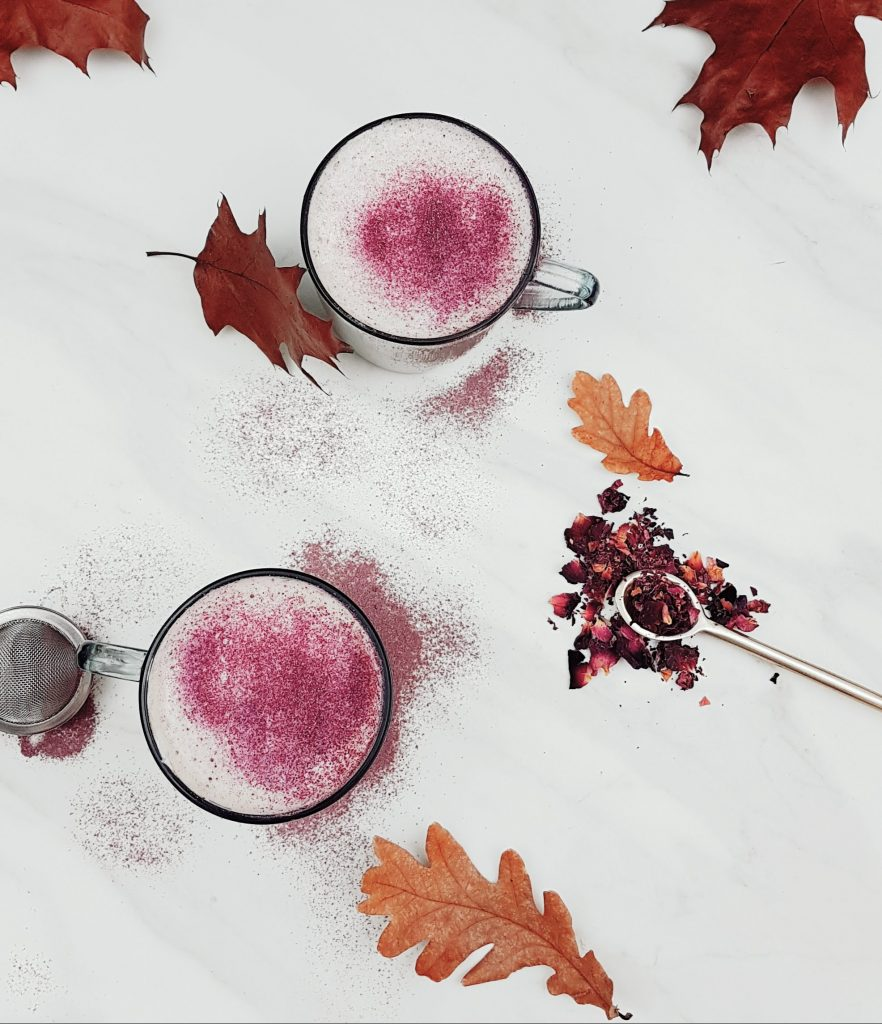 blossoming rose milk tea