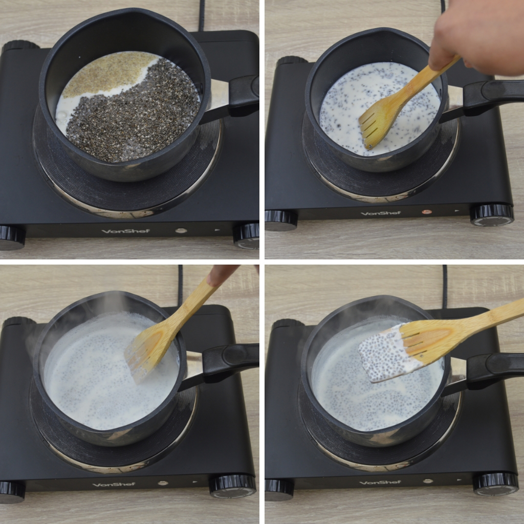 milk chia seeds and ground cardamom boiling