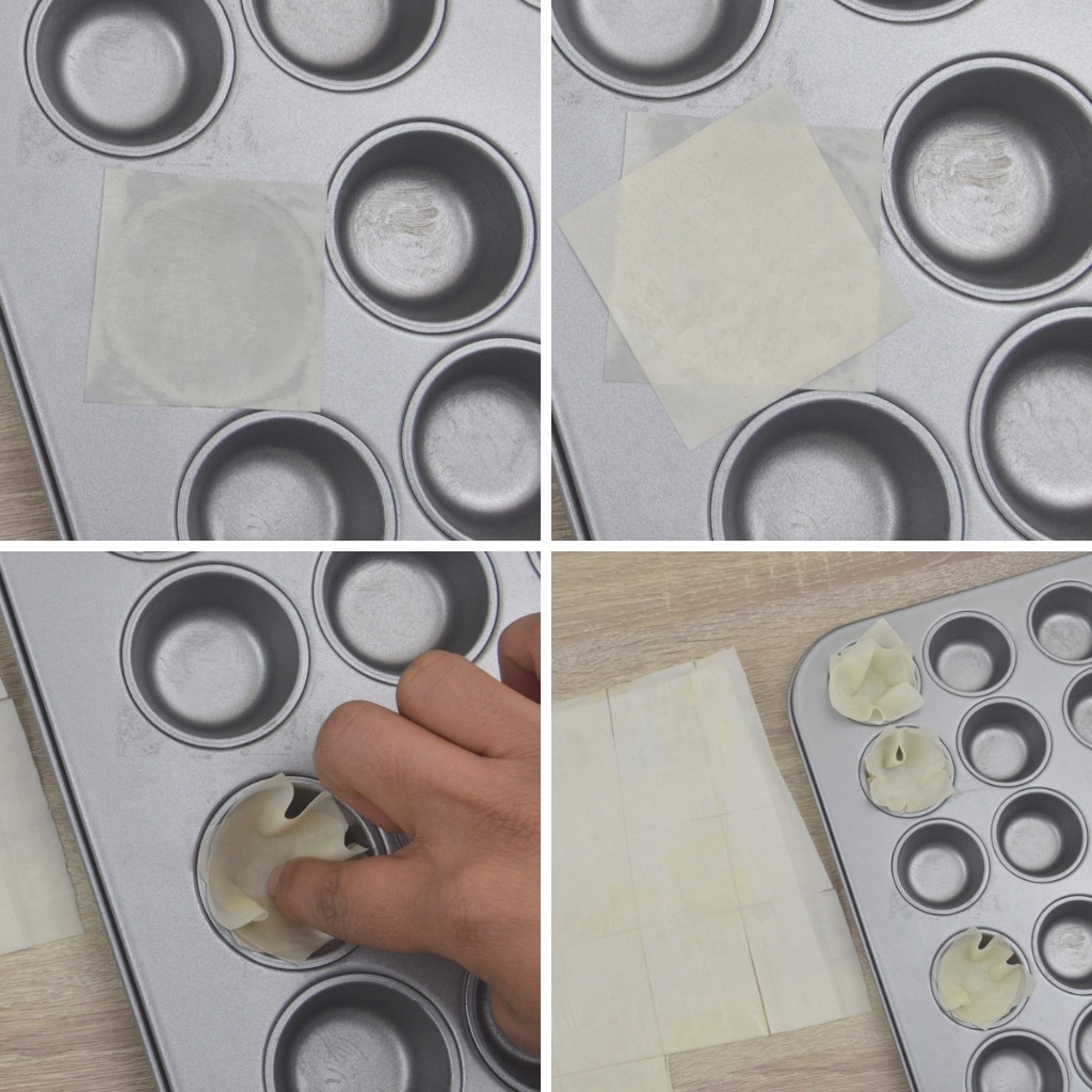 placing pastry squares in mini muffin tin moulds