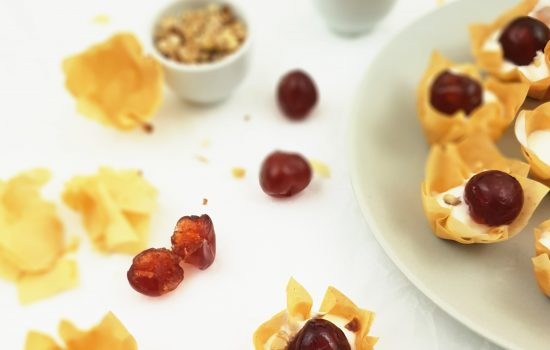 Yogurt Cherry Phyllo Cups (Filo pastry canapes w/ Video)