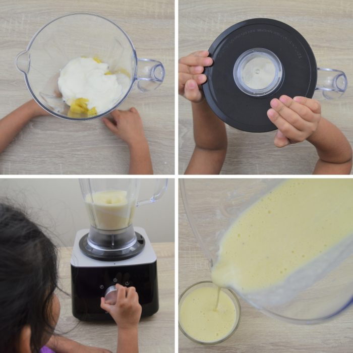 blending pineapple banana yogurt in a blender and pouring in a glass