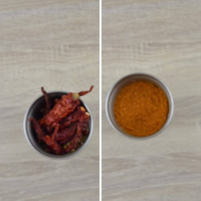 spices and chillies in a blender before and after grinding