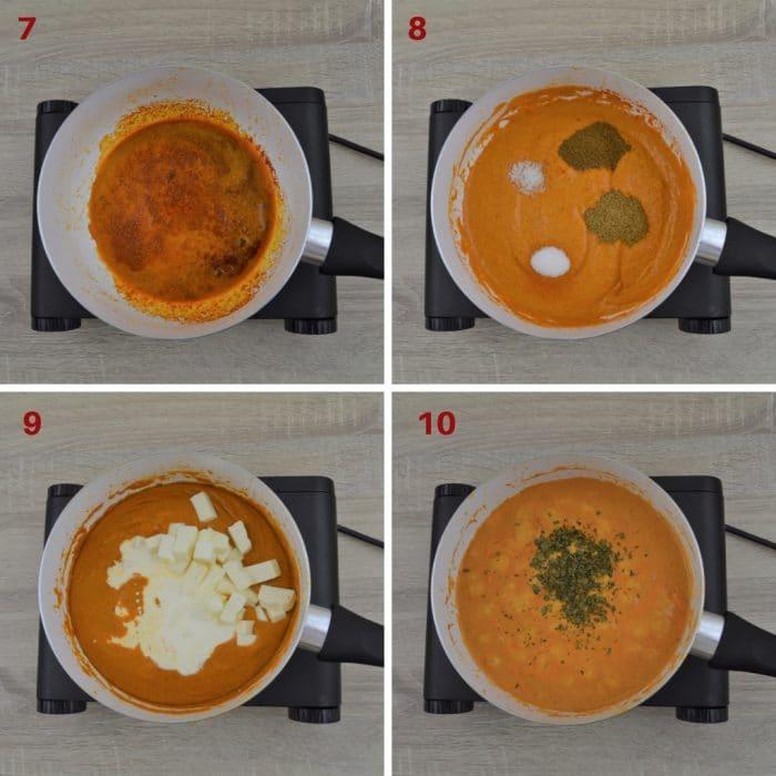 process shot of making paneer makhani curry