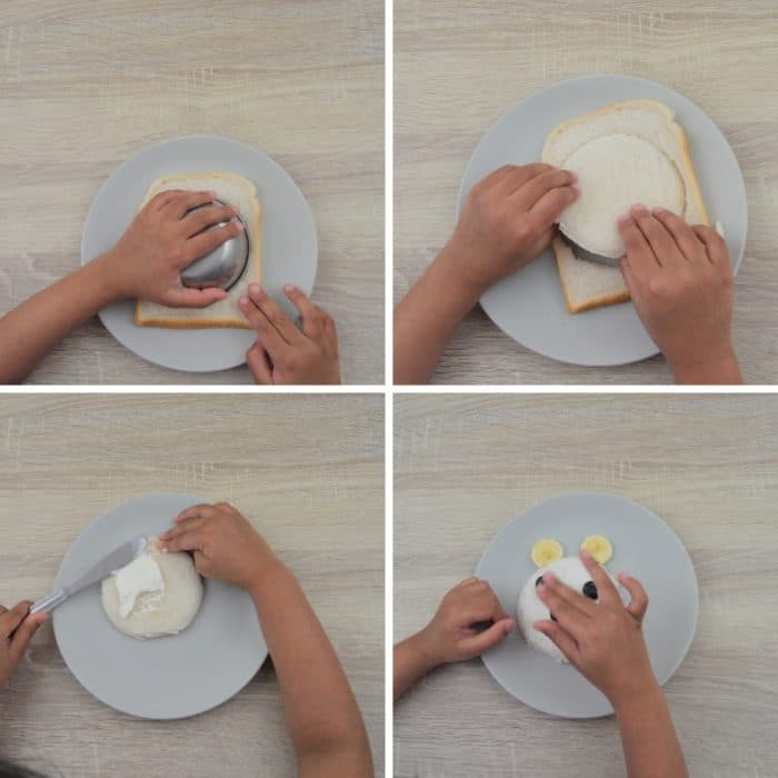 process of making open faced sandwich by a kid