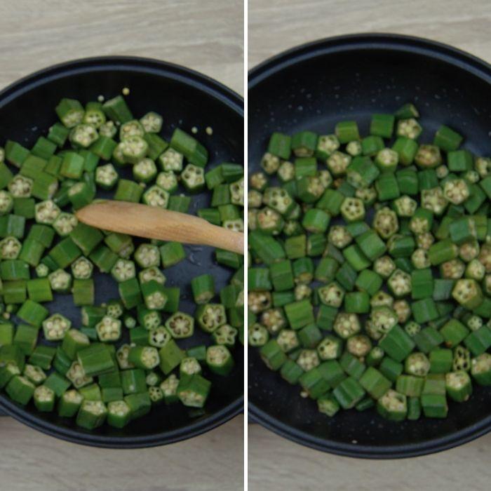 process shot of frying chopped okra pieces in a pan