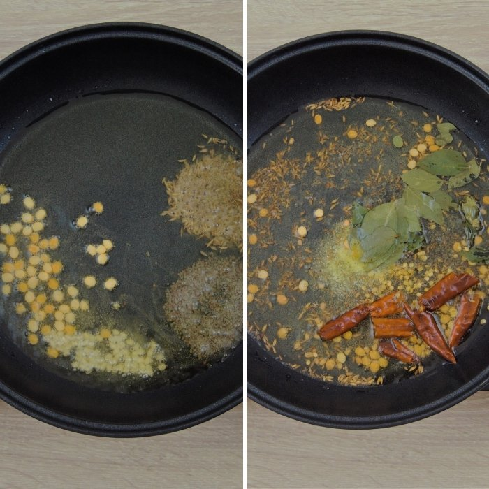 frying spices for making green mango chutney