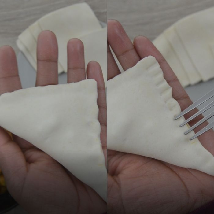 Process of sealing edges of curry puffs before baking them.