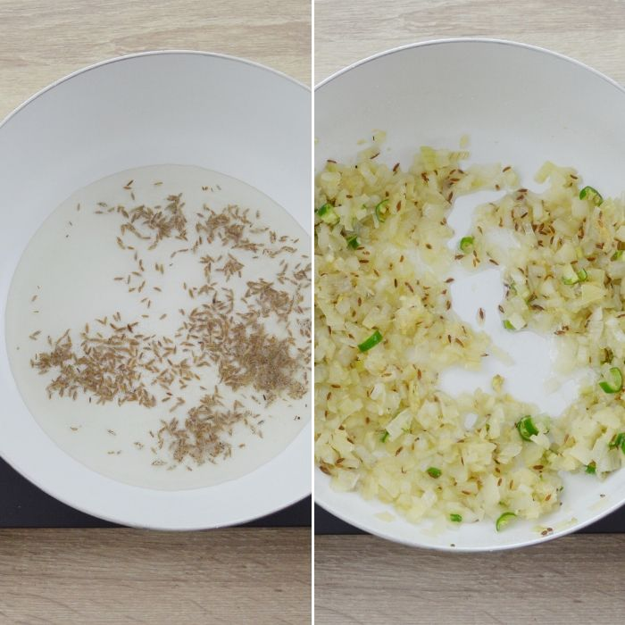 process of frying cumin and onion in oil.
