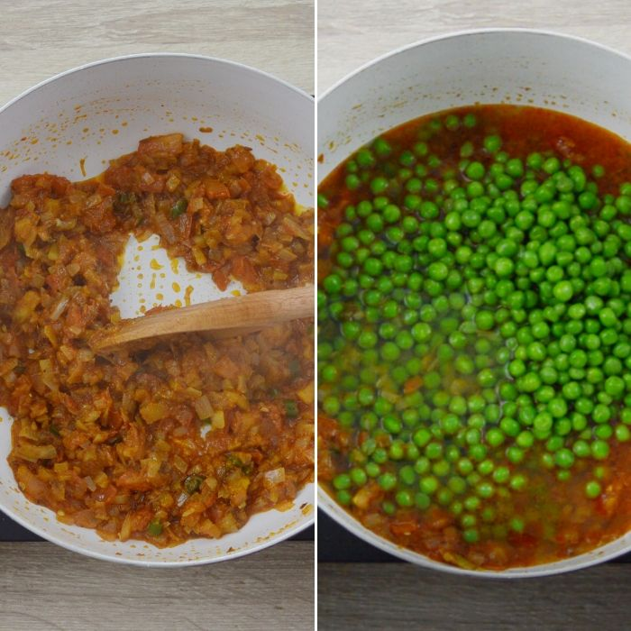 sauting and cooking green peas in masala gravy.