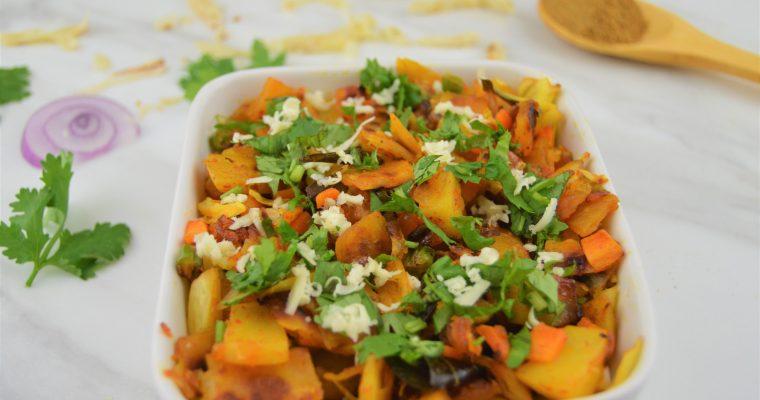 Vegetable Kothu Parotta (Stir fried shredded flatbread)