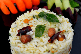 coconut rice in a plate with salad